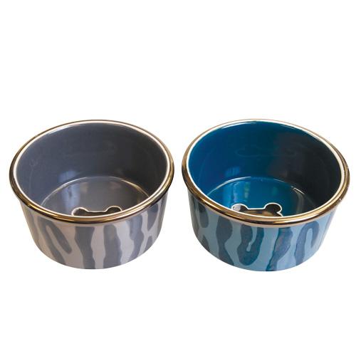 PetRageous Designs Glitzy Safari Stoneware Dog Bowl - Assorted - 3 Cups 21894