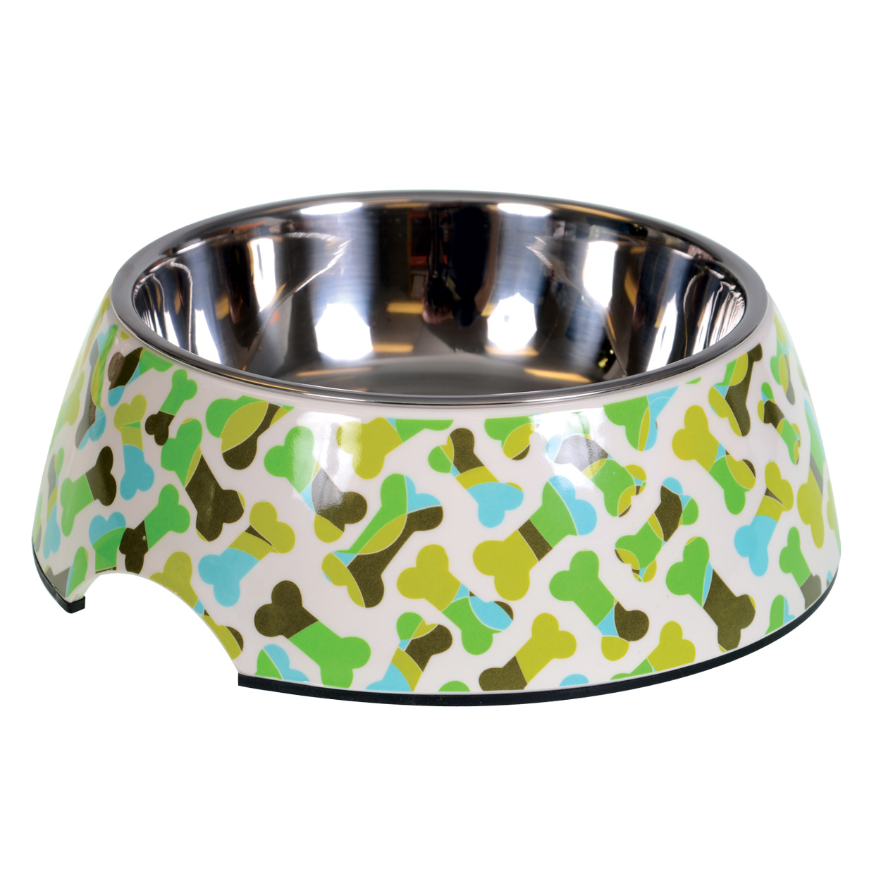 "Animal Treasures Designer Bowl - Green Bones - Large - 7"" dia. 30734"